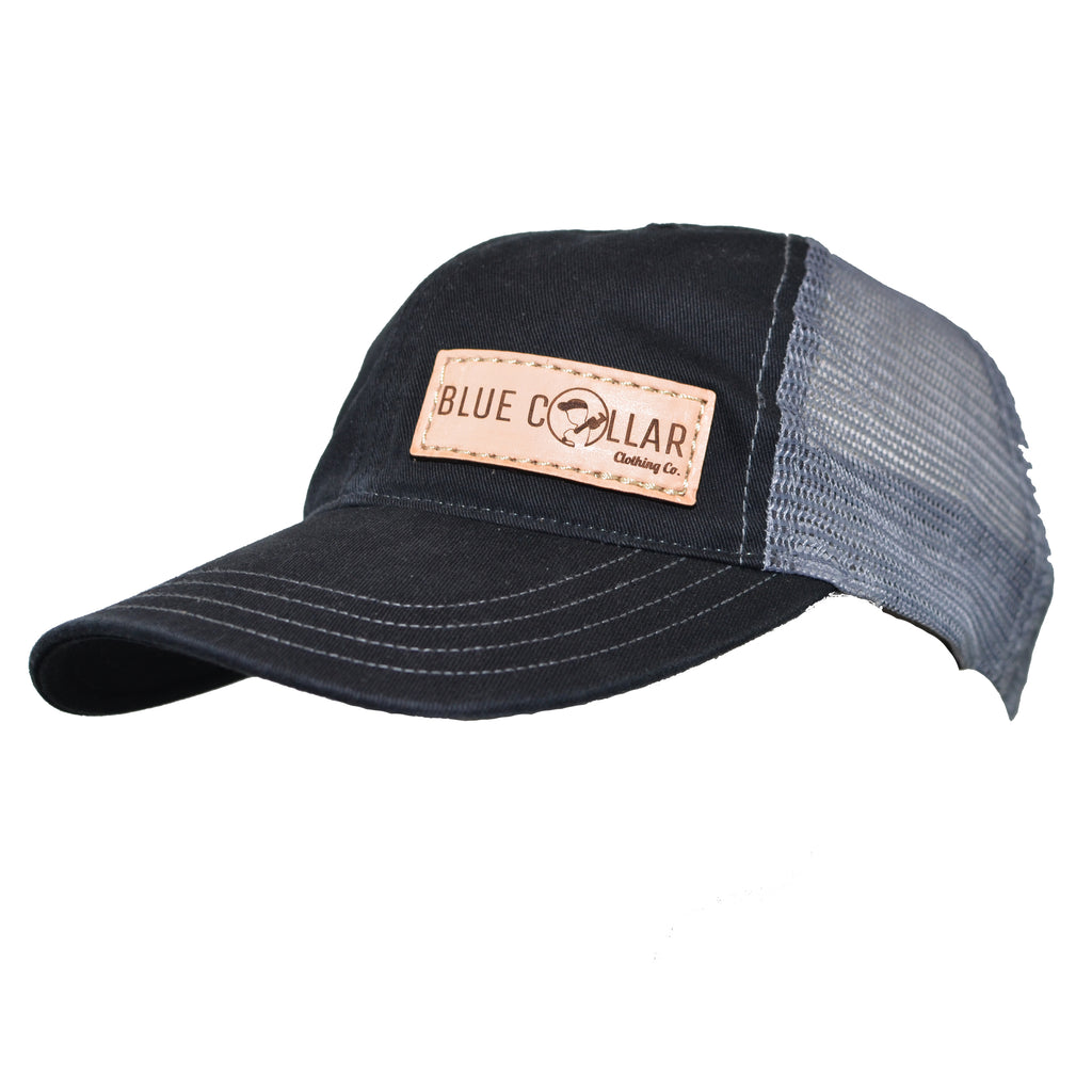 Blue Collar Clothing Co. Leather Patch Washed Trucker Hat