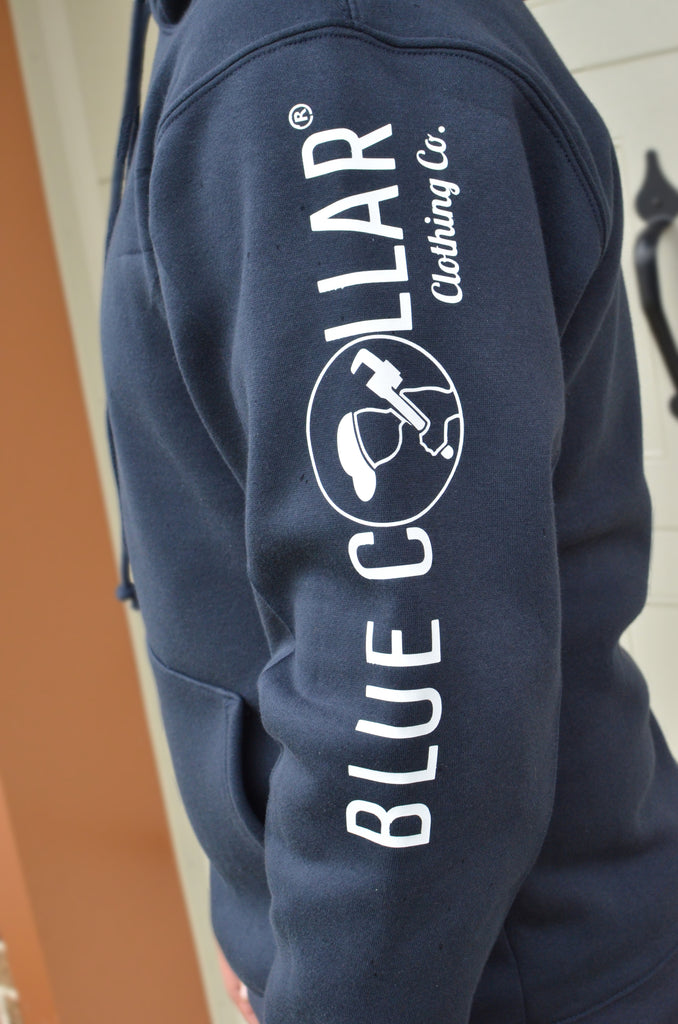 Blue Collar Clothing Co. Unisex Mid weight Hoodie 960 Navy/White