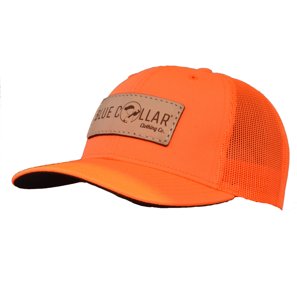 Blue Collar Clothing Co. Full Logo Trucker Hat Blaze Orange 882