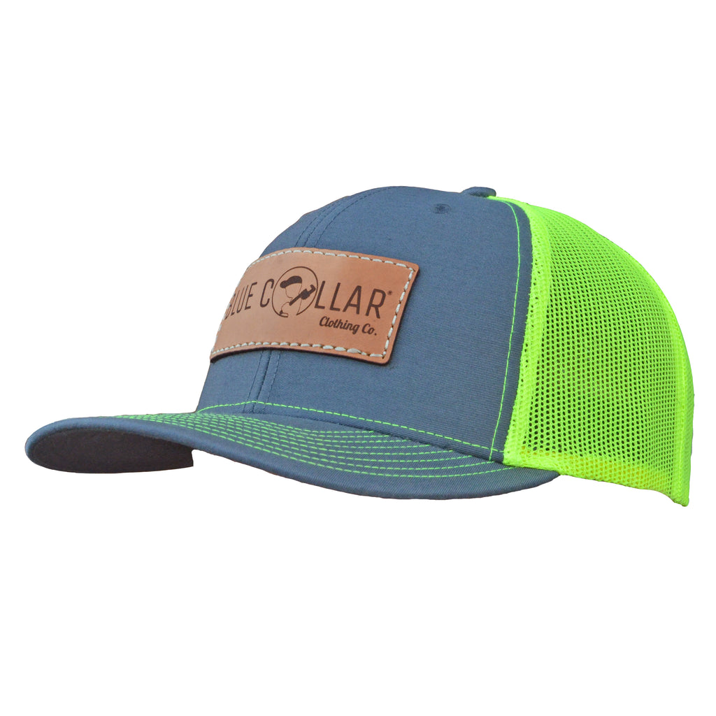 Blue Collar Clothing Co. Full Logo Trucker Hat Charcoal/Neon Yellow 112