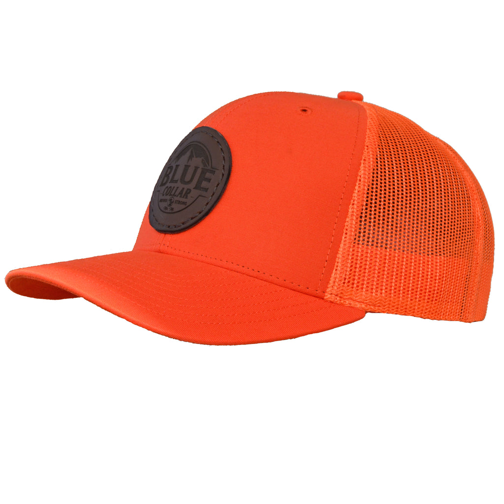 Blue Collar Clothing Co. Mountain Black Logo Trucker Hat Orange 112