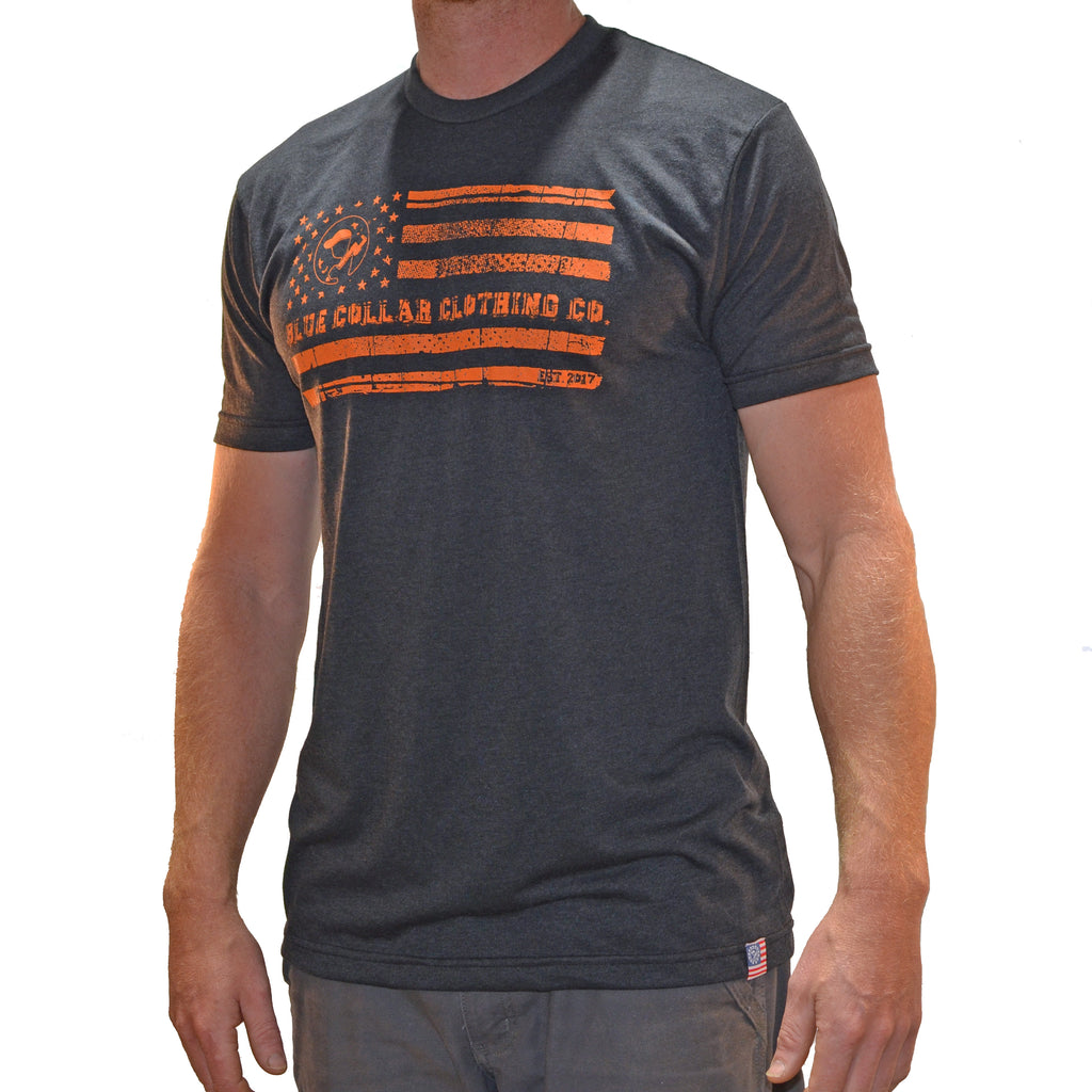Men's Blue Collar EST 2017 T-Shirt Carbon/Orange