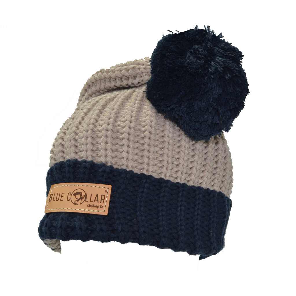 Blue Collar Clothing Co. CHUNK POM BEANIE W/ CUFF NAVY/KHAKI 143