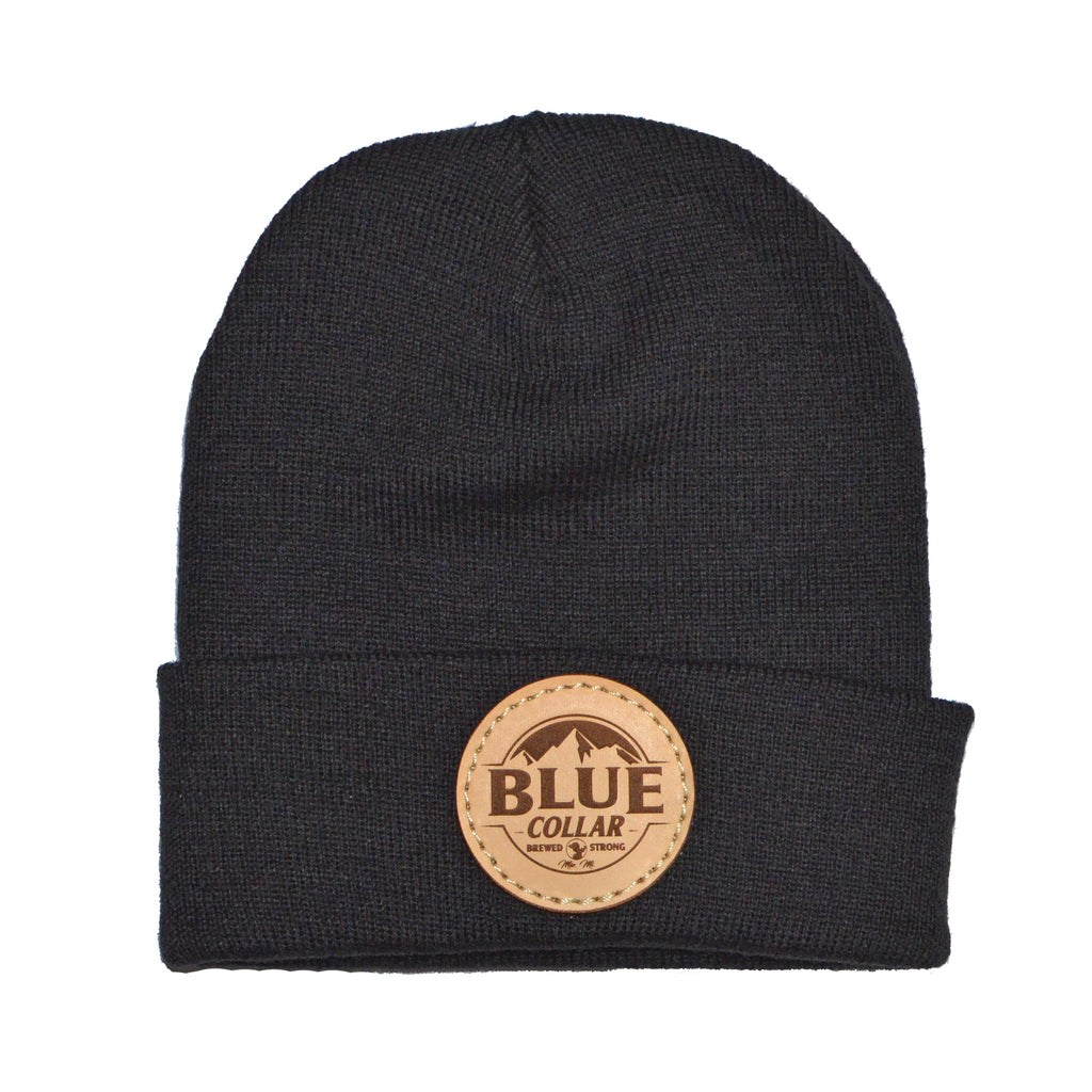 SOLID KNIT Beanie with Cuff- Black  Mountain Logo Patch R18