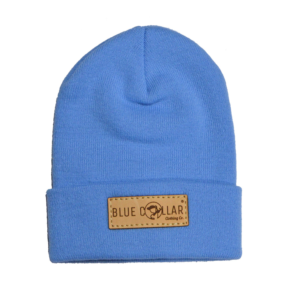 "SOLID KNIT Beanie with Cuff- Carolina Blue ""Girl"" Logo Patch R18"
