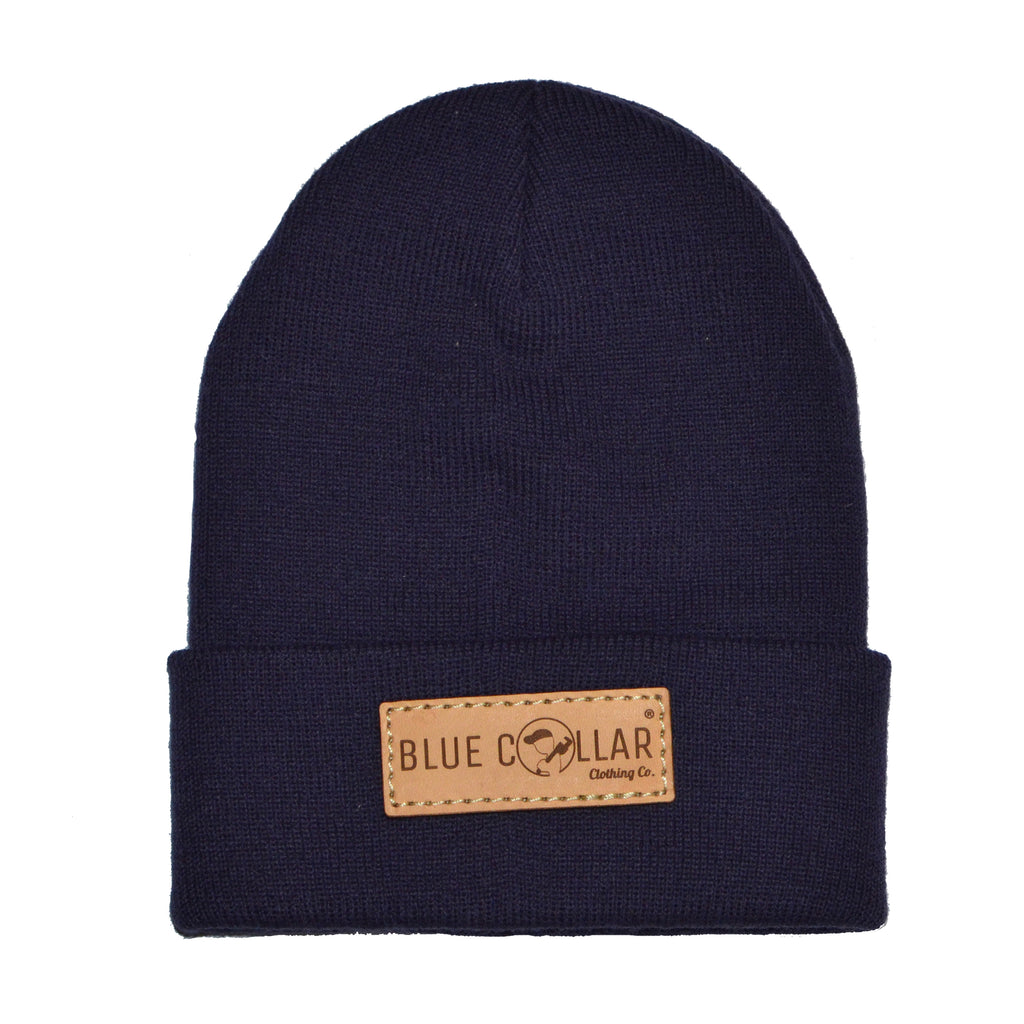 SOLID KNIT Beanie with Cuff- Navy Logo Patch R18