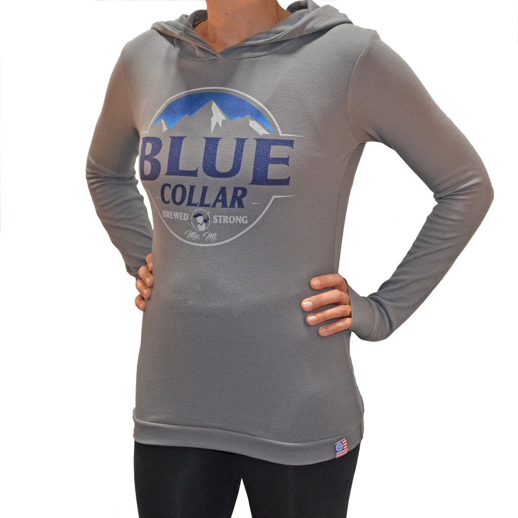 Women's Blue Collar Brewed Stong Mountain Hoodie-Gray