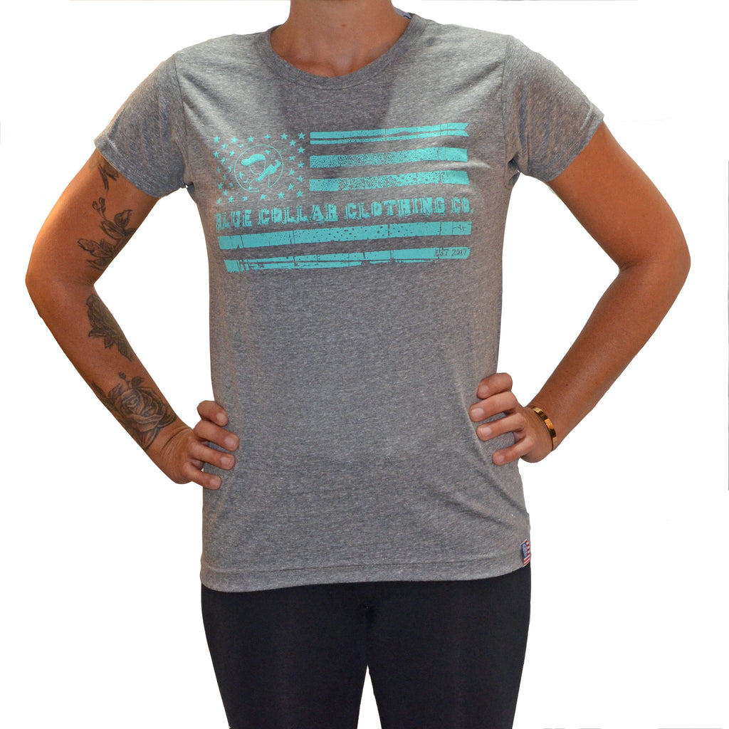 Women's Blue Collar EST 2017 T-Shirt-Heather Gray/Aqua
