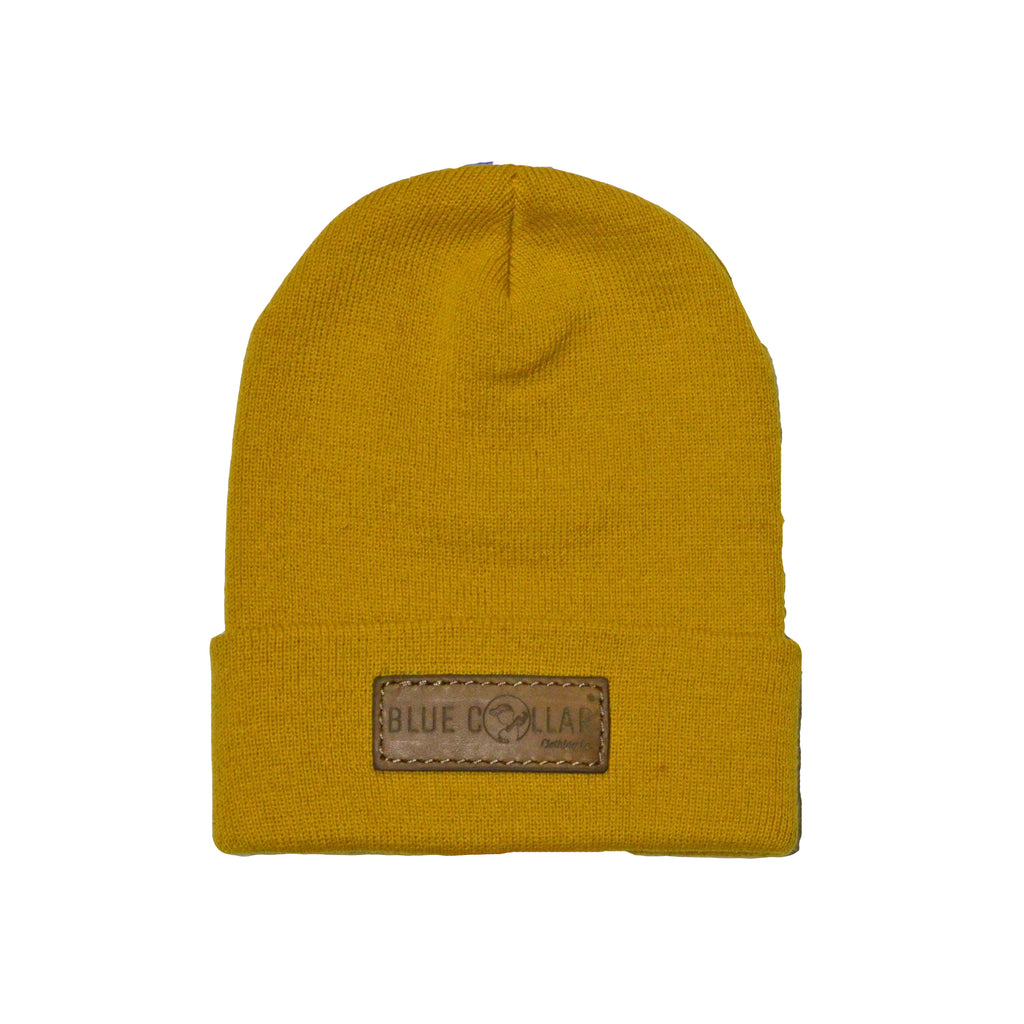 SOLID KNIT Beanie with Cuff-Camel Logo Patch R18