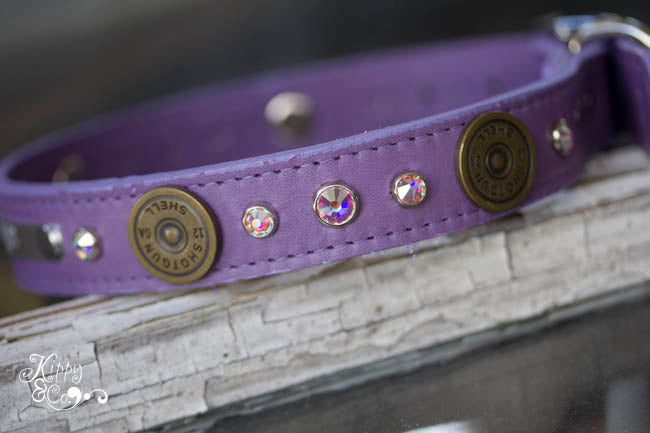 Personalized Leather Collar with 12 Gauge Shotgun Shell Conchos and Crystals