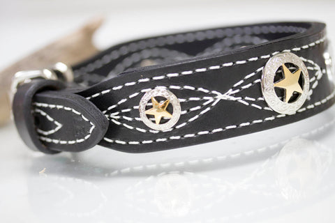 Black Texas Star Leather Collar