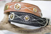 Leather Dog Collar 1.5 inch wide with a personalized name plate, white stitching and Texas Star Conchos in a mixed metal