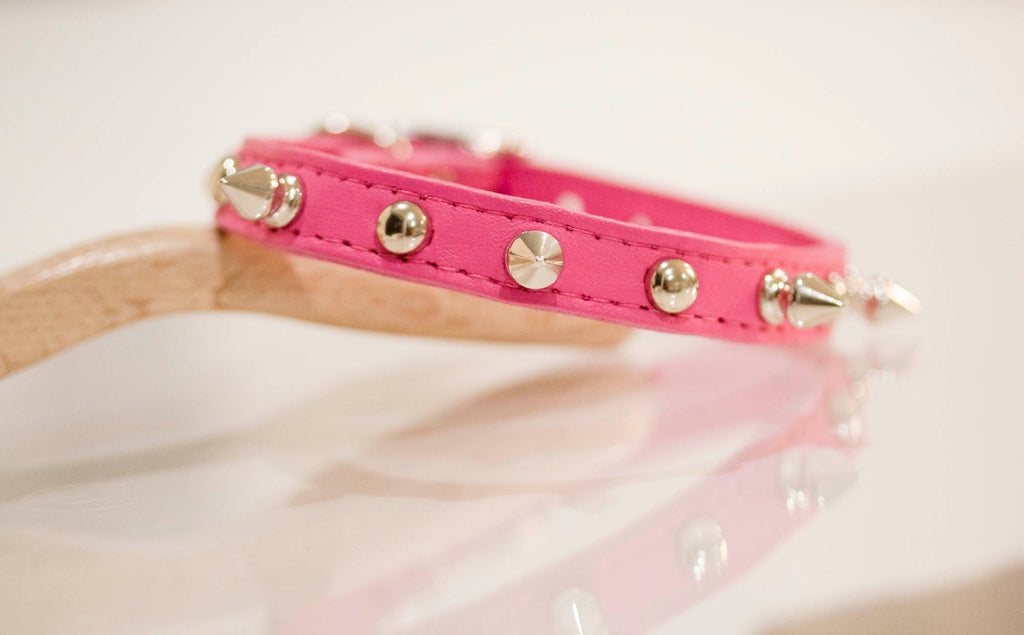1/2 inch leather collar with spikes and studs