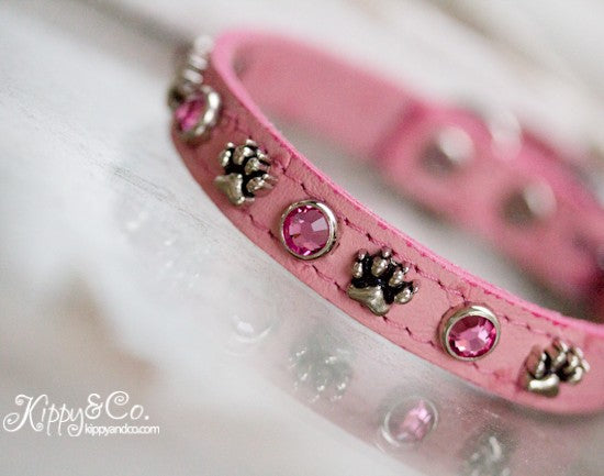 Pink Ostrich Leather Dog Collar With Paws and Pink Swarovski Crystals