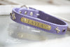 Personalized Leather Bone Crystal Dog Collar With Engraved Name Plate