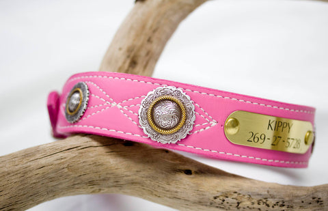 Leather Collar Stitched with Floral Conchos