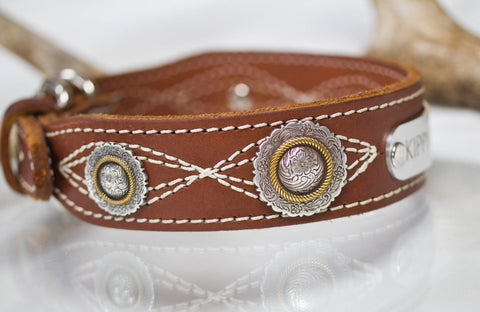 Brown Leather Dog Collar with Floral Conchos