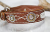 Leather Dog Collar with Personalized name plate and  antique silver floral engraved conchos with brass rope center