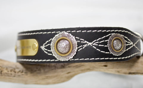 Leather Dog Collar with Floral Conchos