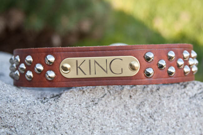 Big Dog Studded Personalized Leather Dog Collar