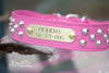 Pink Leather Studded Collar With Engraved Name Plate