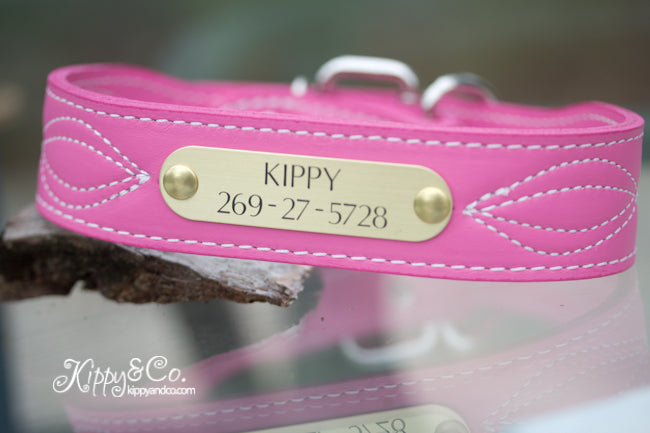 Pink Leather Dog Collar with fancy stitching and engraved brass or silver name plate