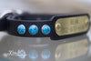 Personalized Leather Dog Collar With Turquoise Stones With Engraved Brass or Silver Name Plate