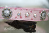 Pink Ostrich Leather Dog Leash with Concho and Crystals