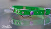 Small Pet Collar With Purple Swarovski Crystals, Silver spots and a Personalized Name Plate