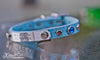 Small Pet Collar With Personalized Name Plate, Silver Spots and Cobalt Blue Crystals