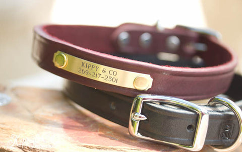 Leather Dog Collar 3/4 inch Personalized
