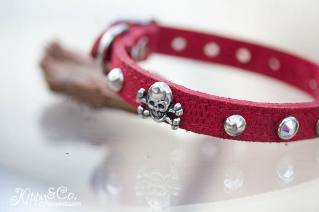 Skull and Crossbones Leather Collar with Crystals