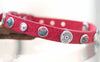 Red Leather Dog Collar with 45 Winchester Conchos, Turquoise Stones and AB Crystals