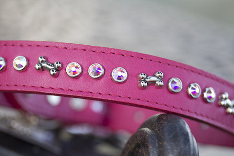 Solid Crystal Dog Collar Leather