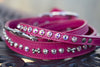 Pink Leather Leash With AB Crystals
