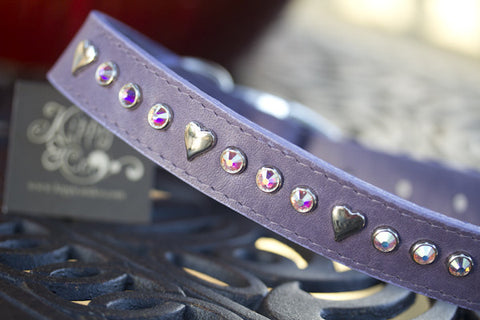 Heart Crystal Leather Dog Collar