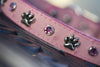 Pink Leather Crystal Dog Collar With Silver Paws and Pink Crystals
