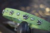 Bright Green Leather Dog Collar With Silver Paws and Peridot Swarovski Crystals