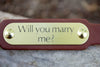 Wedding Dog Collar With Engraved Brass or Silver