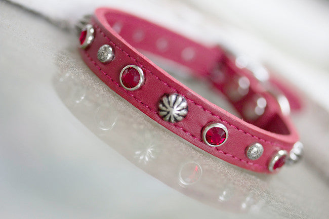 Red Leather Crystal Concho Dog Collar