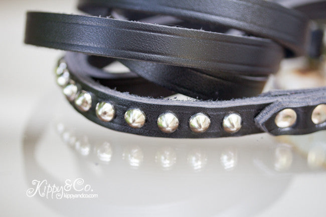 Black Leather Leash With Silver Studs