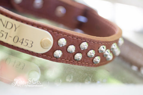Brown Luxe Leather Studded Dog Collar