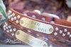 Brown Luxe Leather Studded Dog Collar With Engraved Name Plate and Silver Studs