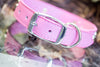Pink Studded Leather Dog Collar