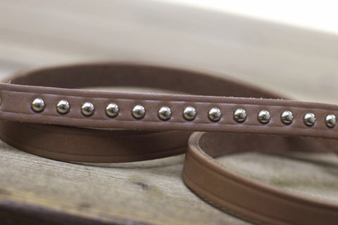 Brown Latigo Studded Leather Leash