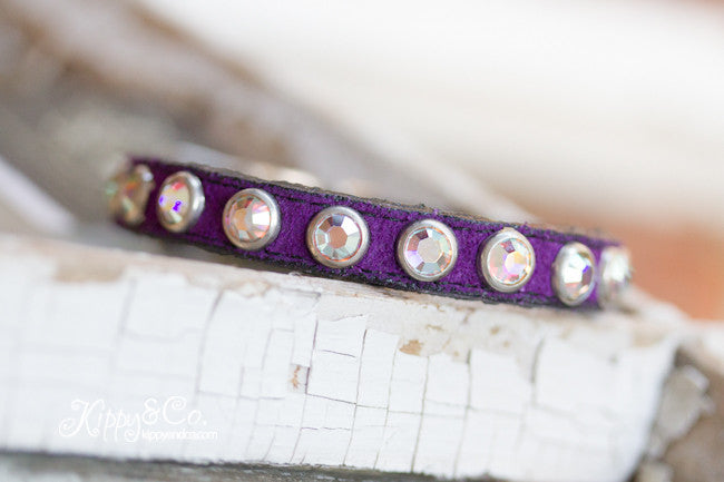 Tiny Purple Suede Collar With AB Crystals