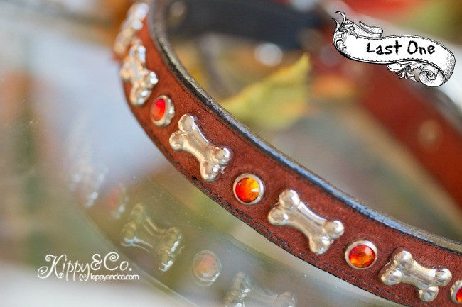 Rust Color Suede Collar With Silver Bones and Fire Opal Crystals