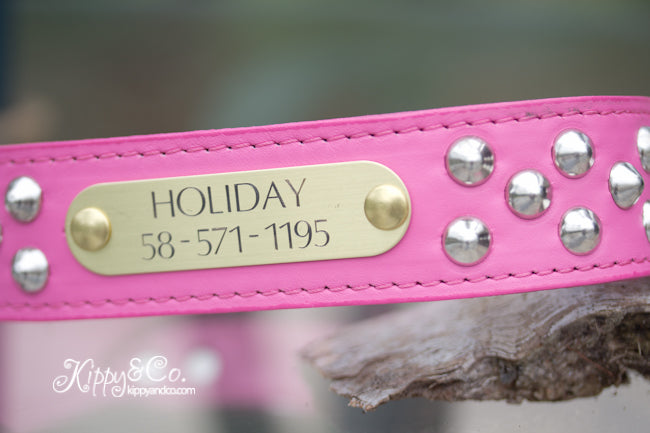 Pink Leather Studded Dog Collar With Engraved Name Plate in Brass or Silver
