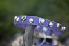 Lavender Leather Dog Collar with Silver Hearts and Crystals