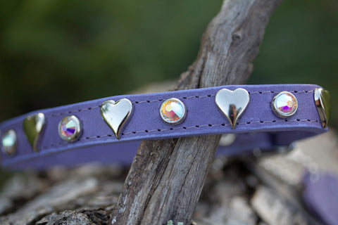 Leather Heart Crystal Dog Collar